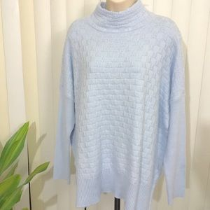 NWT Vince Camuto High Neck Baby Blue Knit Sweater